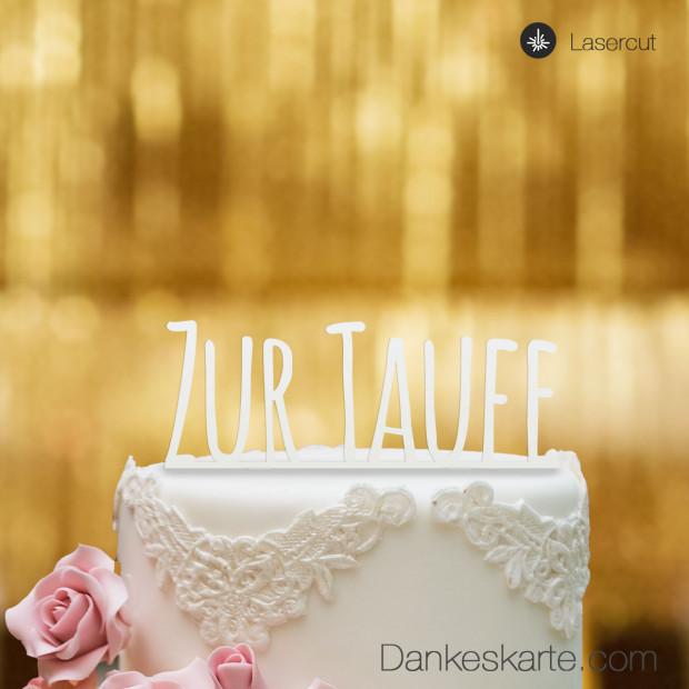 Cake Topper Zur Taufe Blockbuchstaben - Weiss - XL