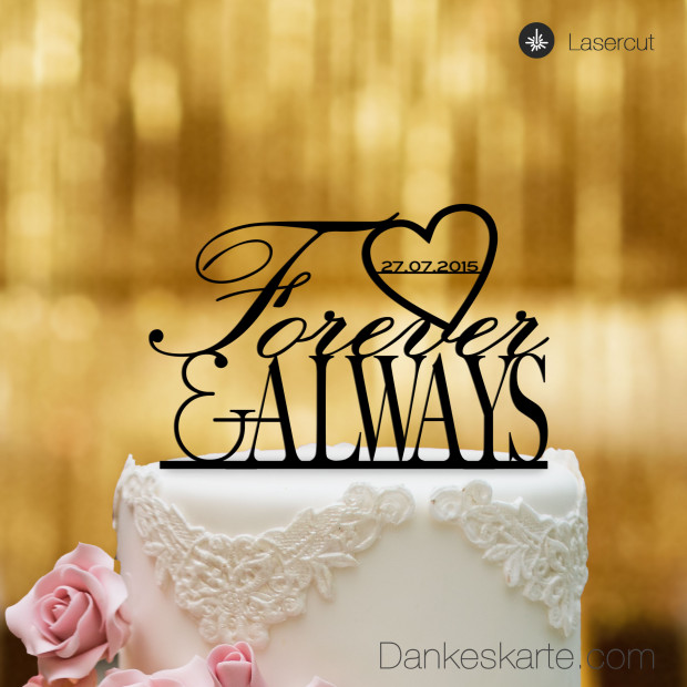 Cake Topper Forever & Always - Schwarz