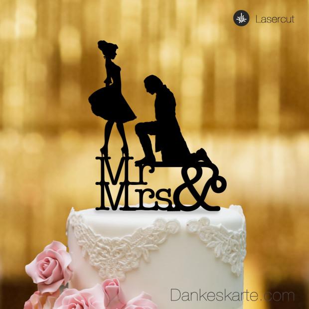 Cake Topper Mr&Mrs - Schwarz