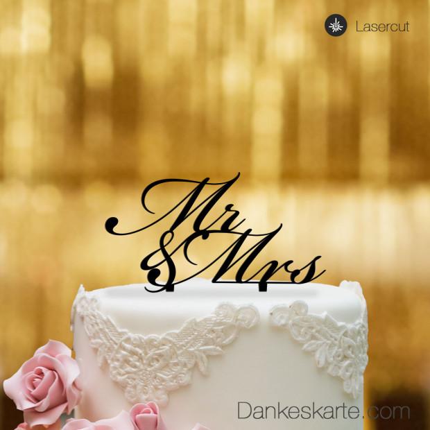 Cake Topper Mr&Mrs Text - Schwarz - S