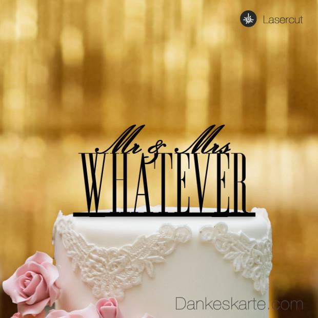 Cake Topper Mr&Mrs personalisiert - Schwarz