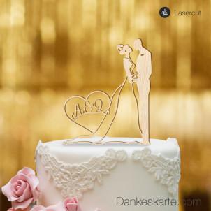 Cake Topper Brautpaar mit Herz personalisiert - Buchenholz - XL