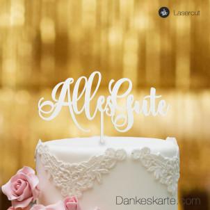 Cake Topper Alles Gute 2 - Weiss - XL