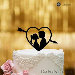 Cake Topper Amor mit Paar - Schwarz - S