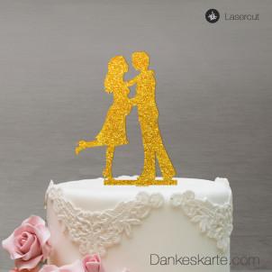 Cake Topper Babybauch - Acrylglas Gold Glitzer - XL