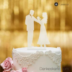 Cake Topper Brautpaar mit Baby - Satiniert - XL