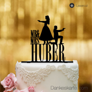 Cake Topper Double James personalisiert - Schwarz - XL
