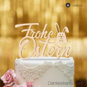 Cake Topper Frohe Ostern Hase - Buchenholz - XL