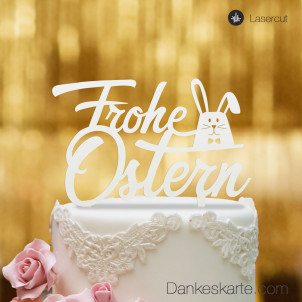 Cake Topper Frohe Ostern Hase - Weiss - XL