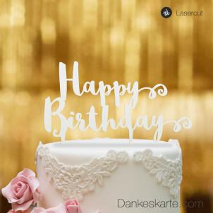 Cake Topper Happy Birthday - Weiss - XL