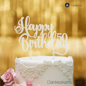 Cake Topper Happy Birthday Zahl personalisiert - Satiniert