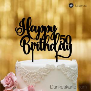 Cake Topper Happy Birthday Zahl personalisiert - Schwarz