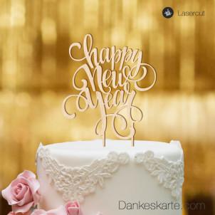 Cake Topper Happy New Year - Buchenholz - XL