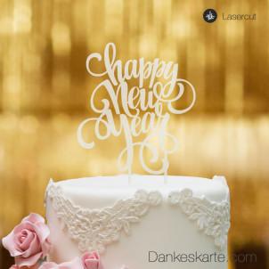 Cake Topper Happy New Year - Satiniert - XL