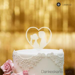 Cake Topper Herz mit Paar - Satiniert - S