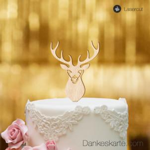 Cake topper Hirsch - Buchenholz - XL