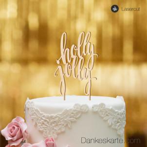 Cake Topper Holly Jolly - Buchenholz - XL