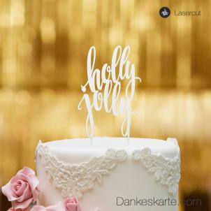 Cake Topper Holly Jolly - Weiss - XL