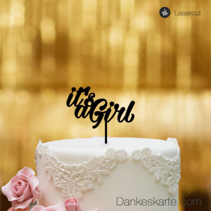 Cake Topper It's a Girl - Schwarz - S