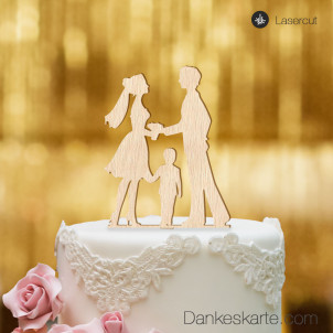 Cake Topper Kleine Familie Junge - Buchenholz - XL