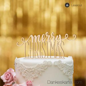 Cake Topper Merry Christmas 1 - Buchenholz - XL