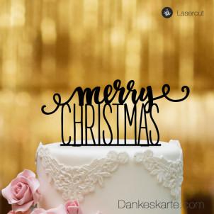 Cake Topper Merry Christmas 1 - Schwarz - XL