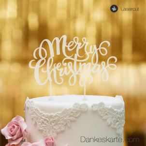 Cake Topper Merry Christmas 2 - Satiniert - XL