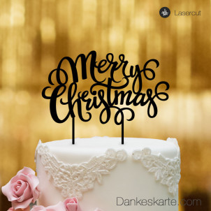Cake Topper Merry Christmas 2 - Schwarz - XL