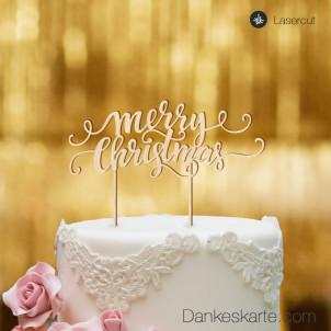 Cake Topper Merry Christmas 3 - Buchenholz - XL