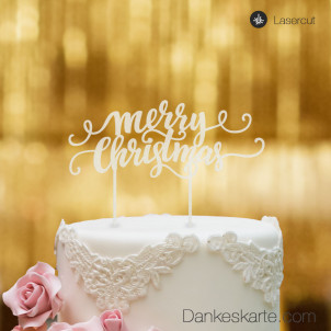 Cake Topper Merry Christmas 3 - Satiniert - XL