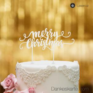 Cake Topper Merry Christmas 3 - Weiss - XL