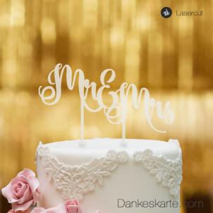 Cake Topper Mr&Mrs Text 2 - Satiniert - XL