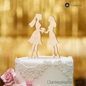 Cake Topper Mrs&Mrs - Buchenholz - XL
