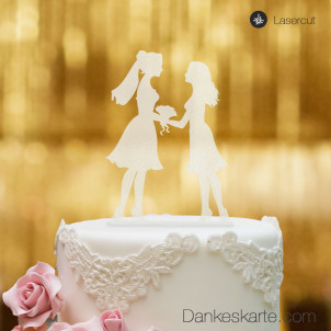 Cake Topper Mrs&Mrs Satiniert - XL