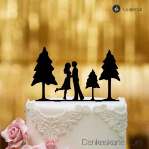 Cake Topper Paar mit Bäumen - Schwarz - XL