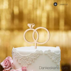 Cake Topper Ringe - Buchenholz - S