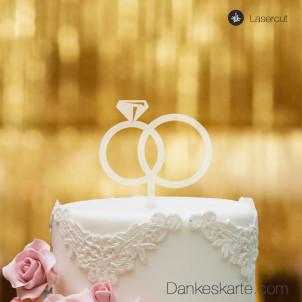 Cake Topper Ringe - Satiniert - S