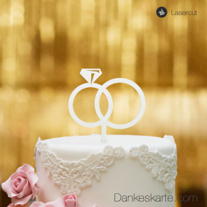 Cake Topper Ringe - Weiss - S