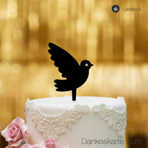 Cake Topper Taube - Schwarz - S