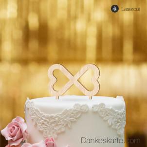 Cake Topper Unendliche Herzen - Buchenholz - S