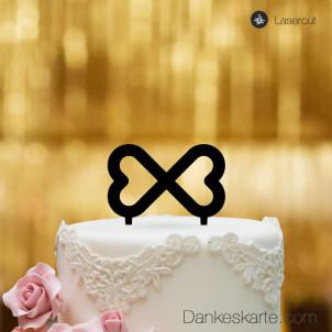 Cake Topper Unendliche Herzen - Schwarz - S