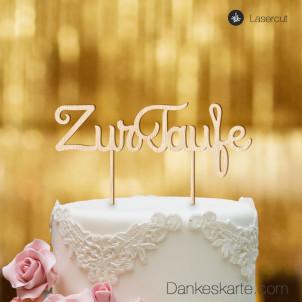 Cake Topper Zur Taufe Schreibschrift - Buchenholz - XL