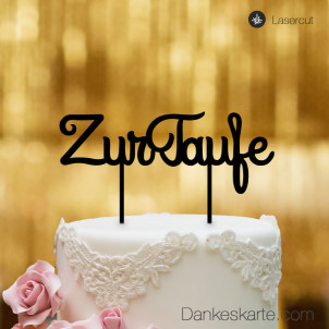 Cake Topper Zur Taufe Schreibschrift - Schwarz - XL