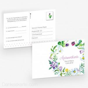 Antwortpostkarte Blumendekor 15 x 10 cm