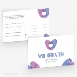 Antwortpostkarte Fingerabdruck Herz 15 x 10 cm
