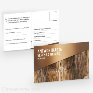 Antwortpostkarte Glas und Holz 15 x 10 cm