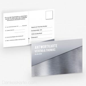 Antwortpostkarte Glas und Metall 15 x 10 cm
