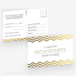 Antwortpostkarte Goldstück 15 x 10 cm