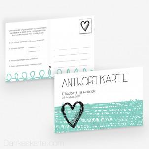 Antwortpostkarte Herzmalerei 15 x 10 cm