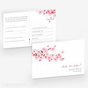 Antwortpostkarte Kirschblüten 15 x 10 cm